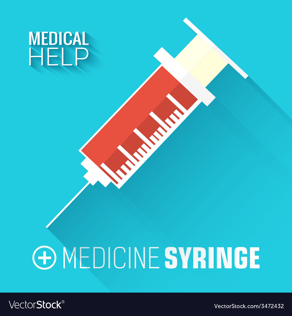 Flat medical syringe background concept vector | Price: 1 Credit (USD $1)