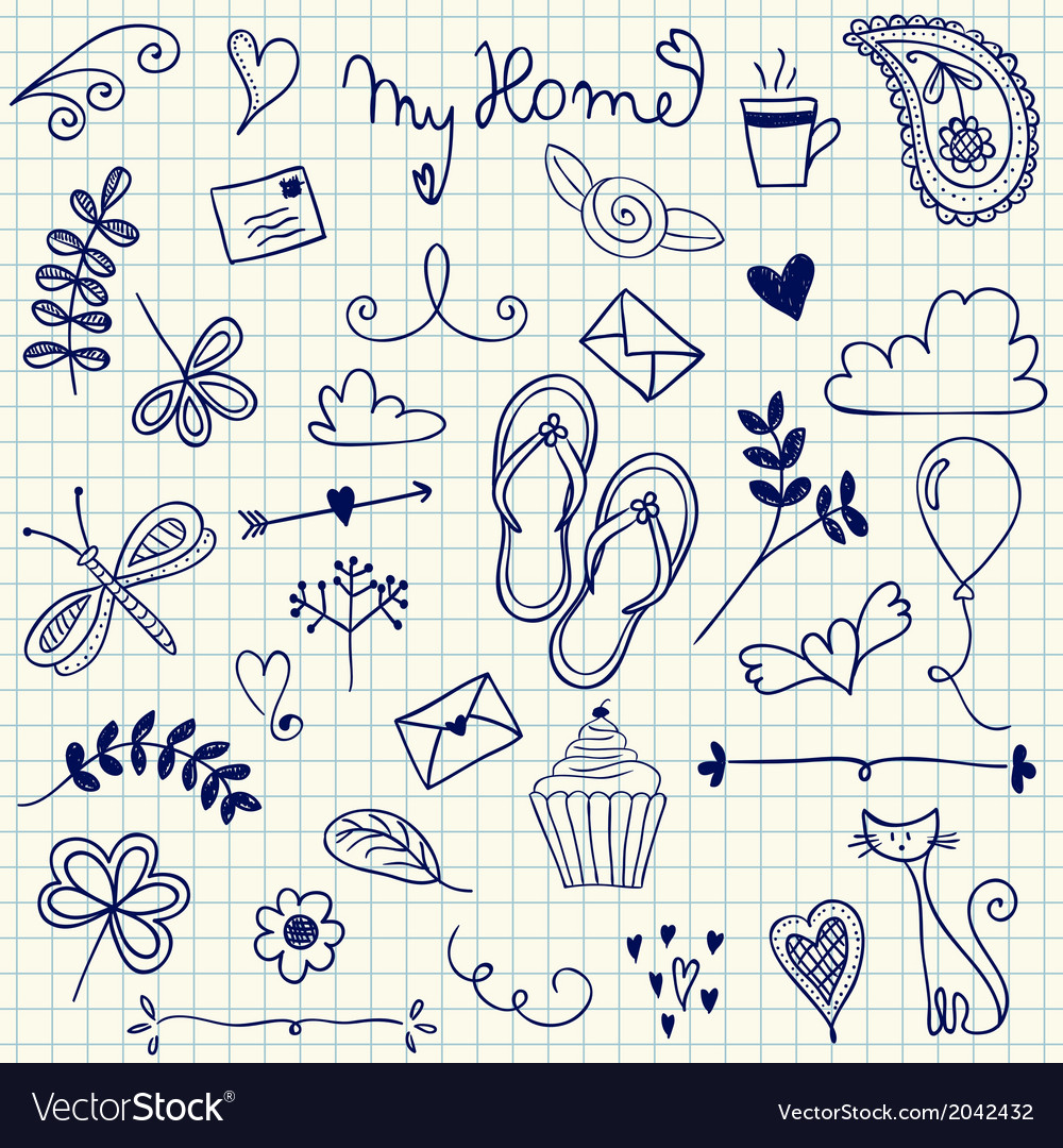 My home pen doodles on squared paper vector | Price: 1 Credit (USD $1)