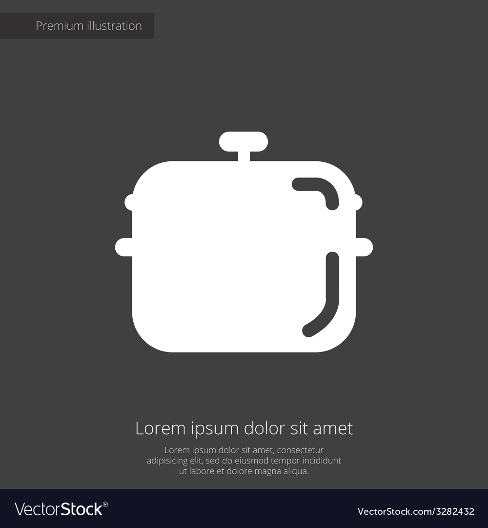 Pan premium icon white on dark background vector | Price: 1 Credit (USD $1)