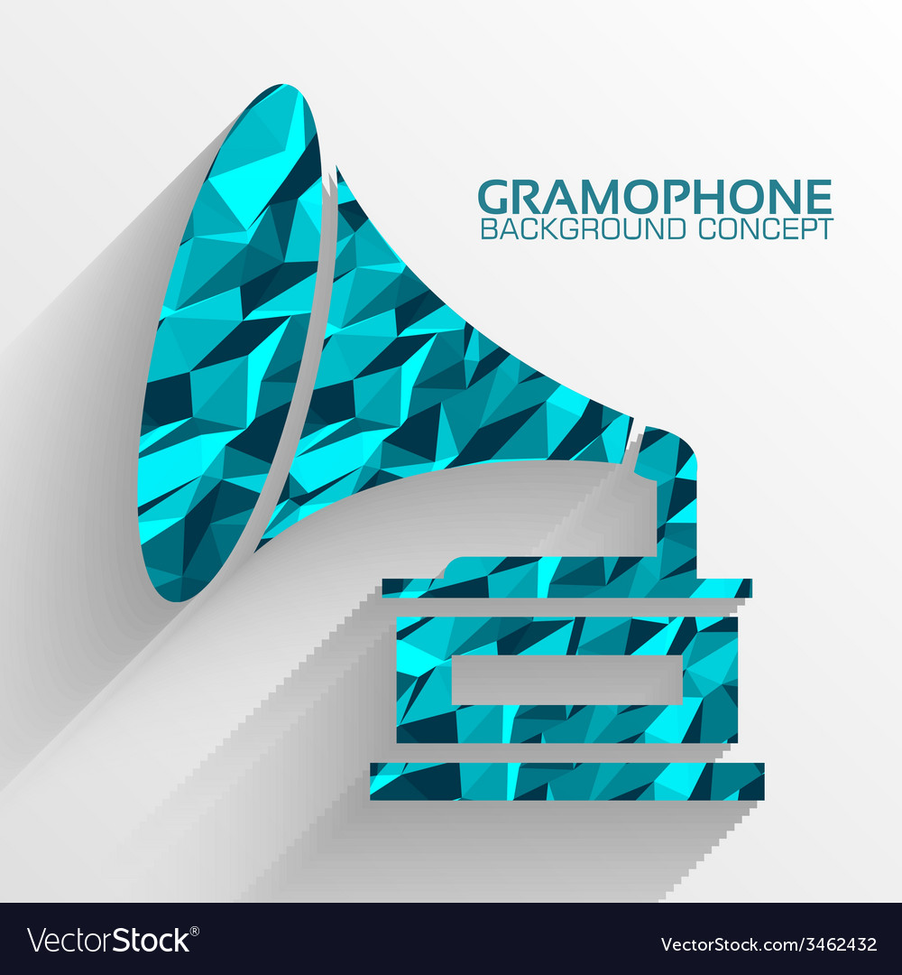 Polygonal retro gramophone background concept vector | Price: 1 Credit (USD $1)