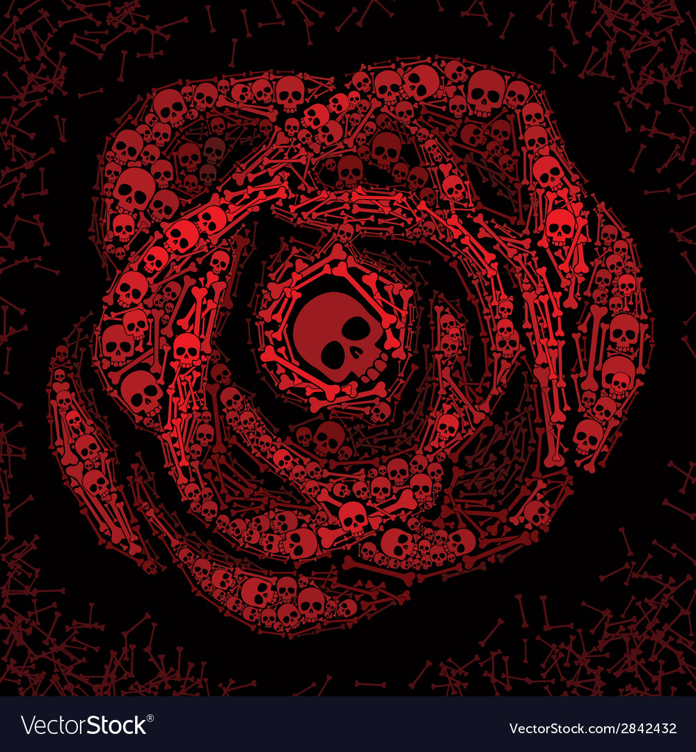 Red rose of skulls and bones vector | Price: 1 Credit (USD $1)