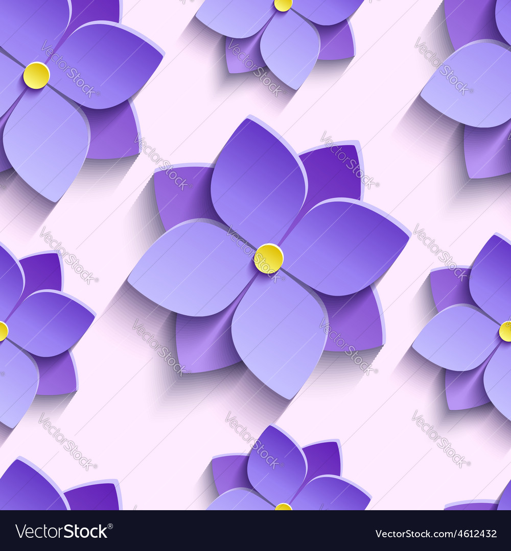 Seamless pattern with purple summer flowers vector | Price: 3 Credit (USD $3)