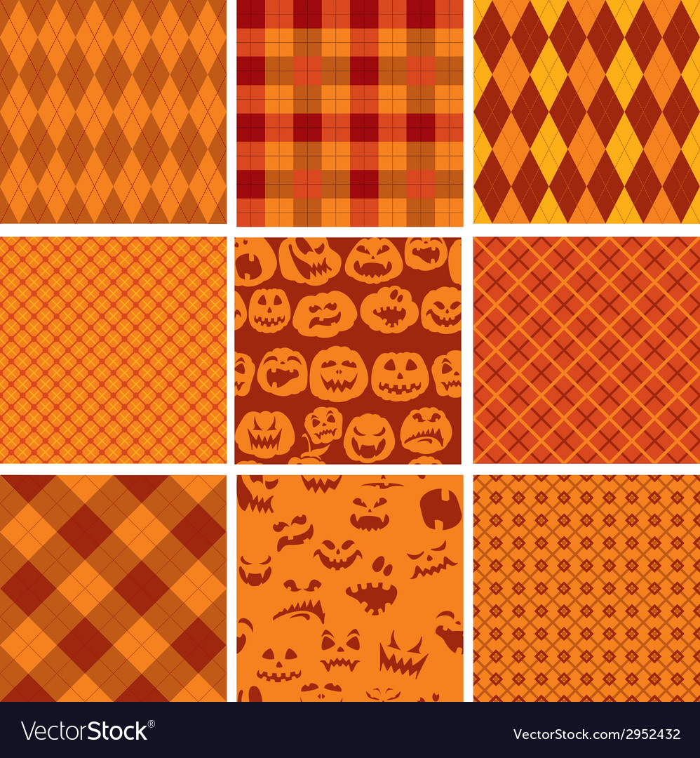 Set of halloween plaid seamless patterns in orange vector