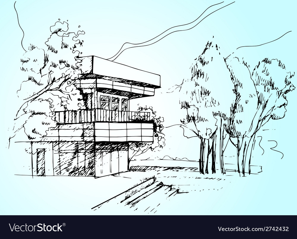 Sketch the architecture house vector | Price: 1 Credit (USD $1)