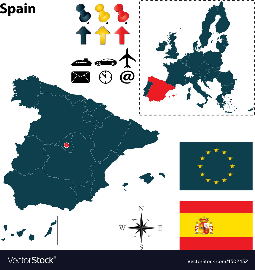 Spanish and european union map vector | Price: 1 Credit (USD $1)