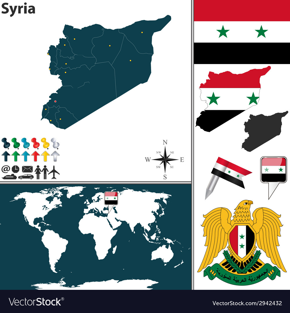 Syria map world vector | Price: 1 Credit (USD $1)