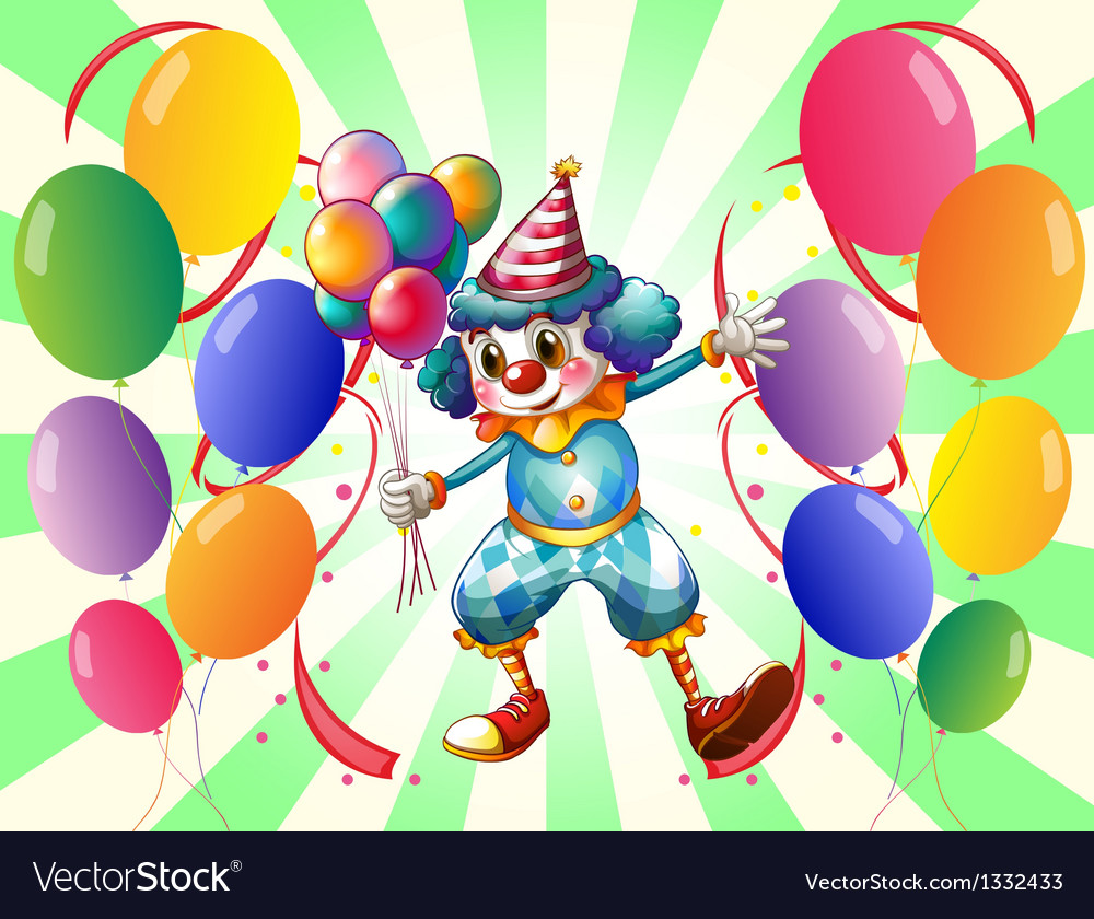 A clown between a group of balloons vector | Price: 1 Credit (USD $1)