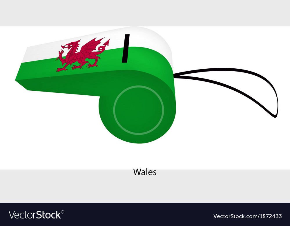A dragon on white and green whistle of wales vector | Price: 1 Credit (USD $1)