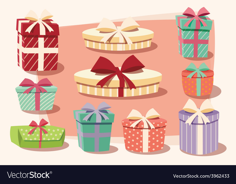 Collection of colorful gift boxes bows and ribbons vector | Price: 1 Credit (USD $1)