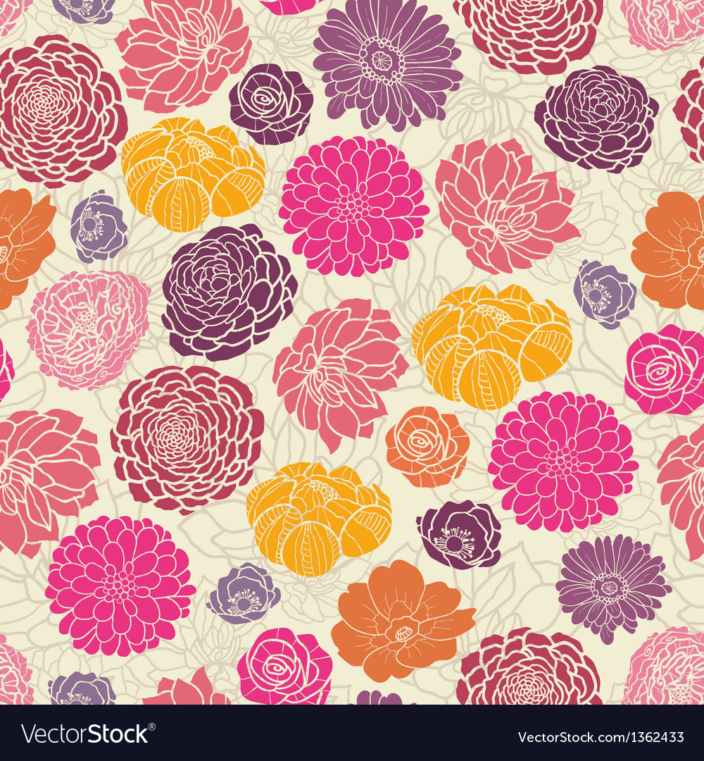 Colorful abstract flowers seamless pattern vector | Price: 1 Credit (USD $1)