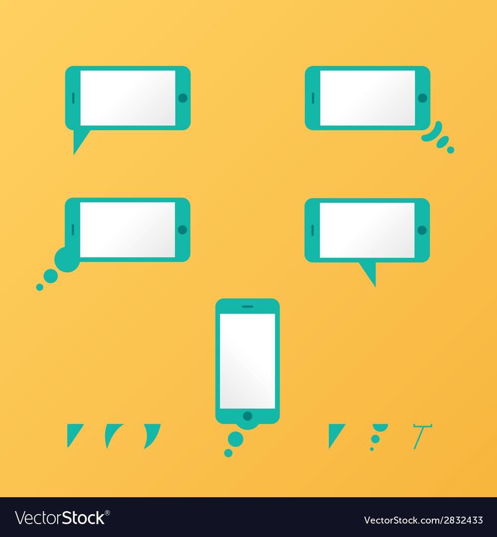Gadget smartphone empty speech bubbles yellow vector | Price: 1 Credit (USD $1)