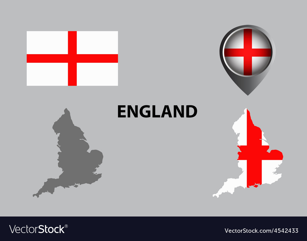Map of england and symbol vector | Price: 1 Credit (USD $1)