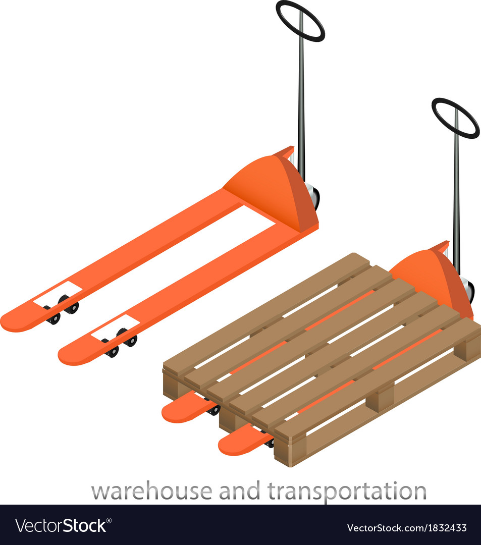 Orange pallet truck vector | Price: 1 Credit (USD $1)
