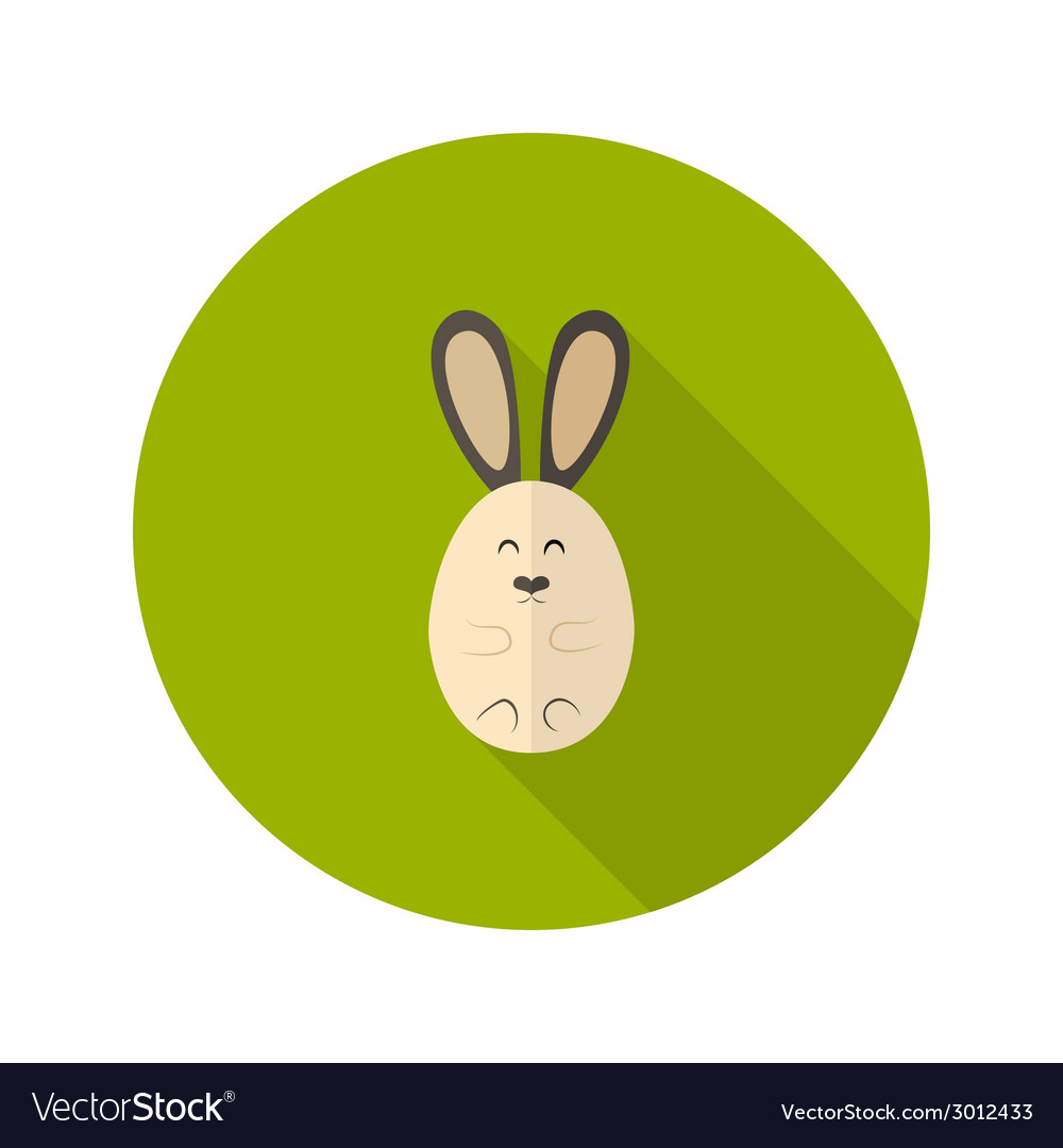 Oval rabbit flat icon vector | Price: 1 Credit (USD $1)