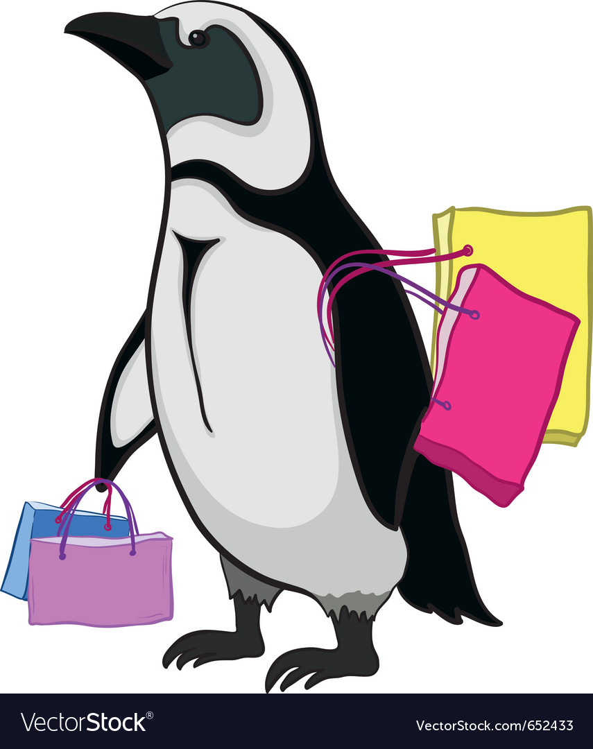 Penguin with bags vector | Price: 1 Credit (USD $1)