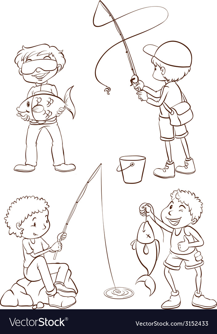 Plain sketches of the boys fishing vector
