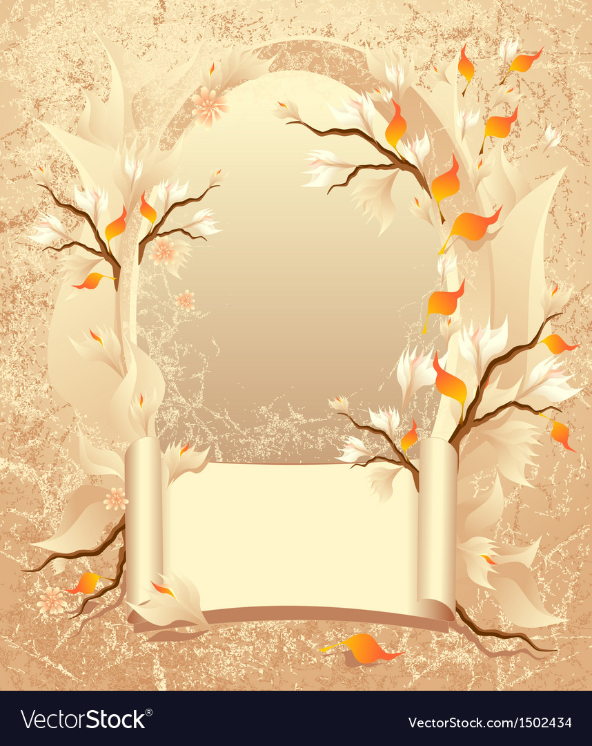Autumn frame with a scroll on grunge background vector | Price: 1 Credit (USD $1)