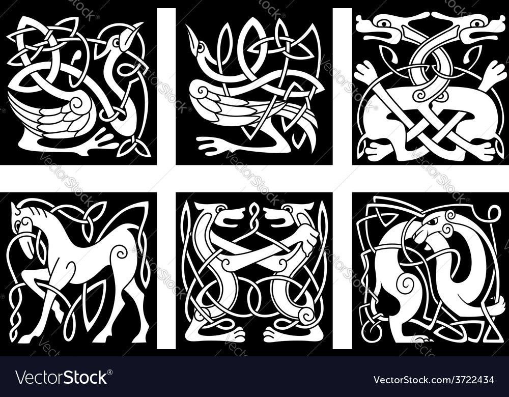 Celtic ornaments with animals vector | Price: 1 Credit (USD $1)