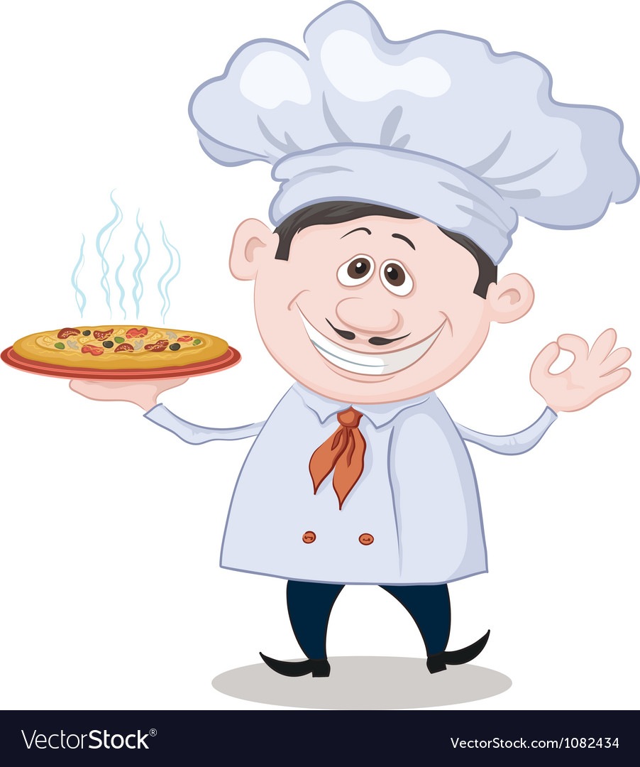 Cook holds a hot pizza vector | Price: 1 Credit (USD $1)