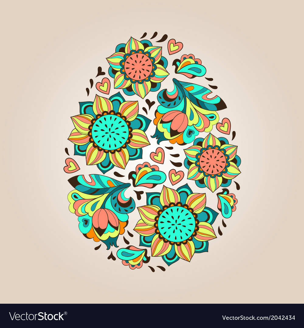 Flower tracery egg vector | Price: 1 Credit (USD $1)