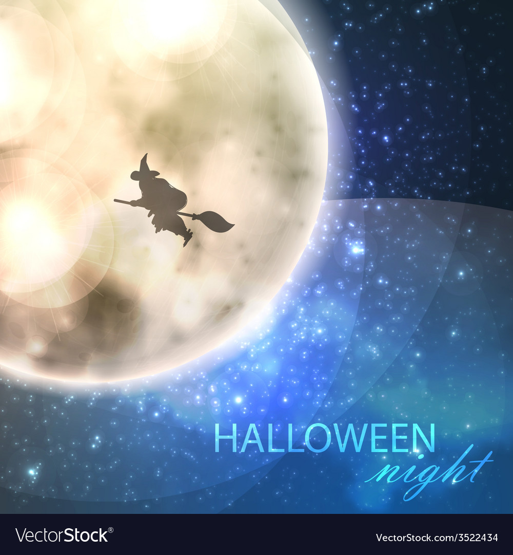 Halloween with full moon and witch on the night vector | Price: 1 Credit (USD $1)