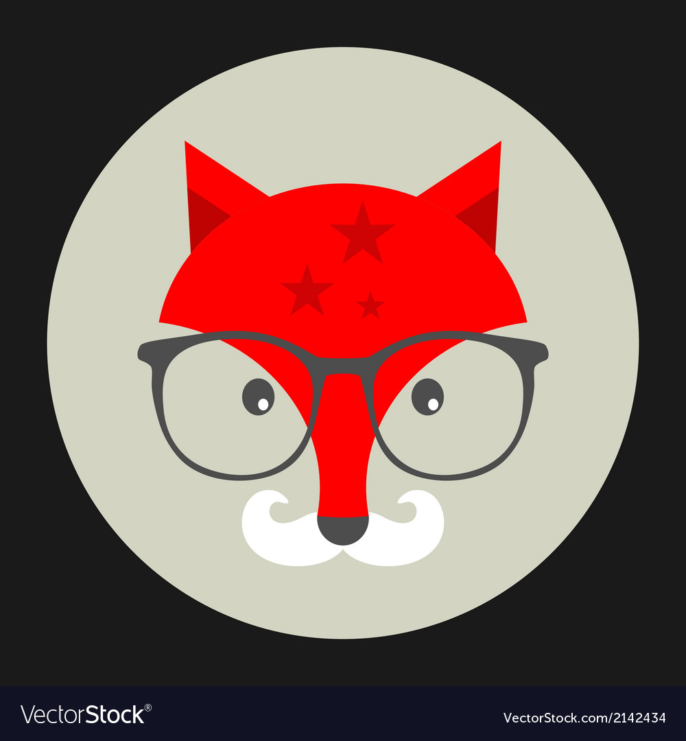 Hipster emblem with fox in glasses vector | Price: 1 Credit (USD $1)
