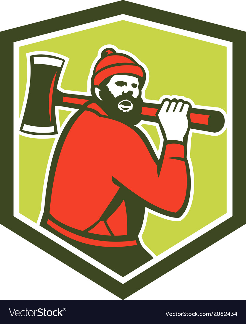 Paul bunyan lumberjack carrying axe vector | Price: 1 Credit (USD $1)