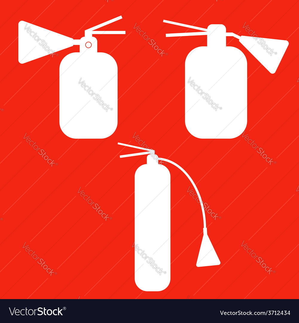 Set of fire extinguishers isolated icons emergenc vector | Price: 1 Credit (USD $1)