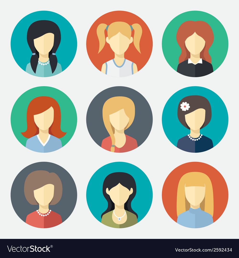 Set of girl avatar icons vector | Price: 1 Credit (USD $1)
