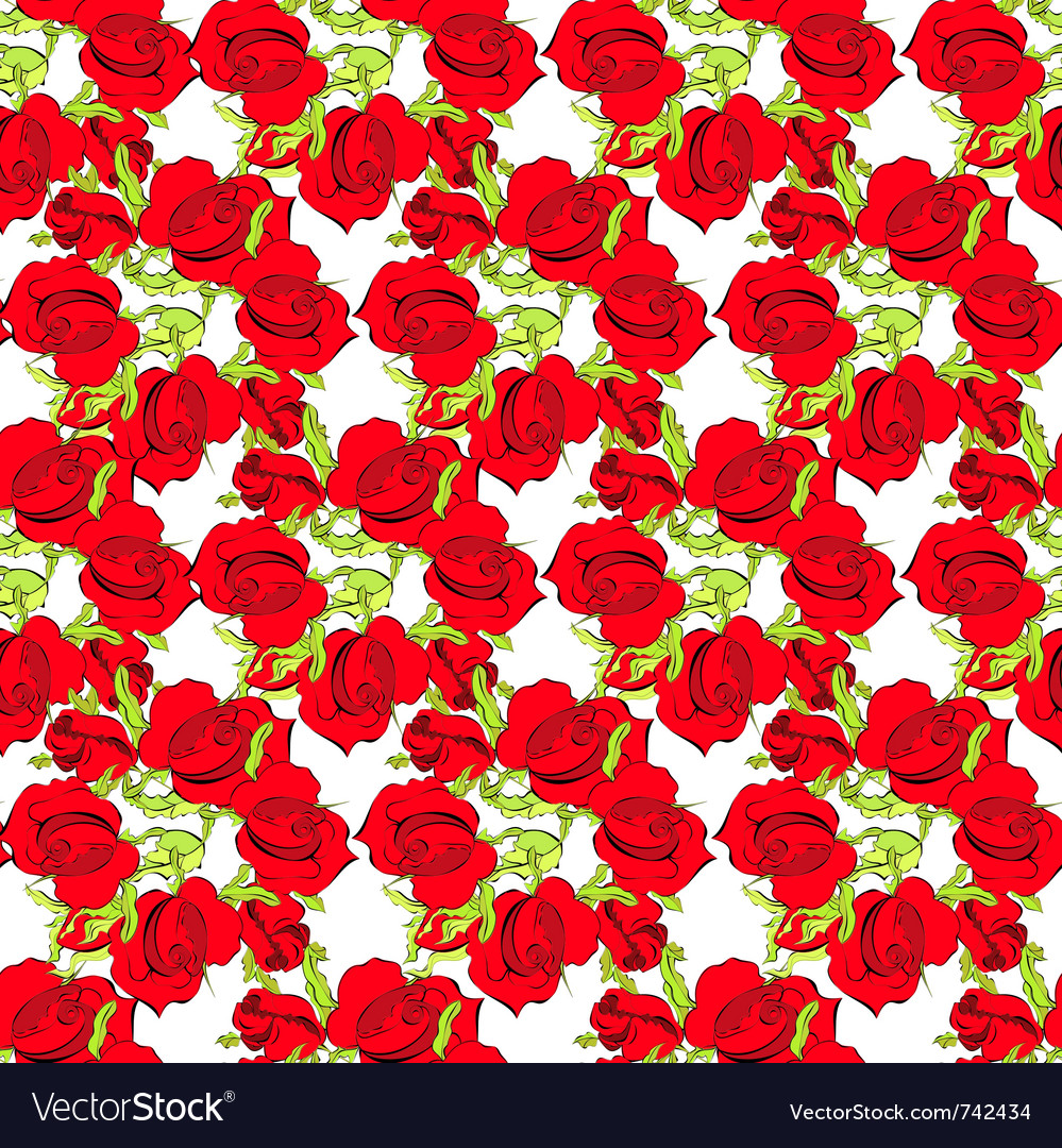 Summer seamless wallpaper with roses vector | Price: 1 Credit (USD $1)