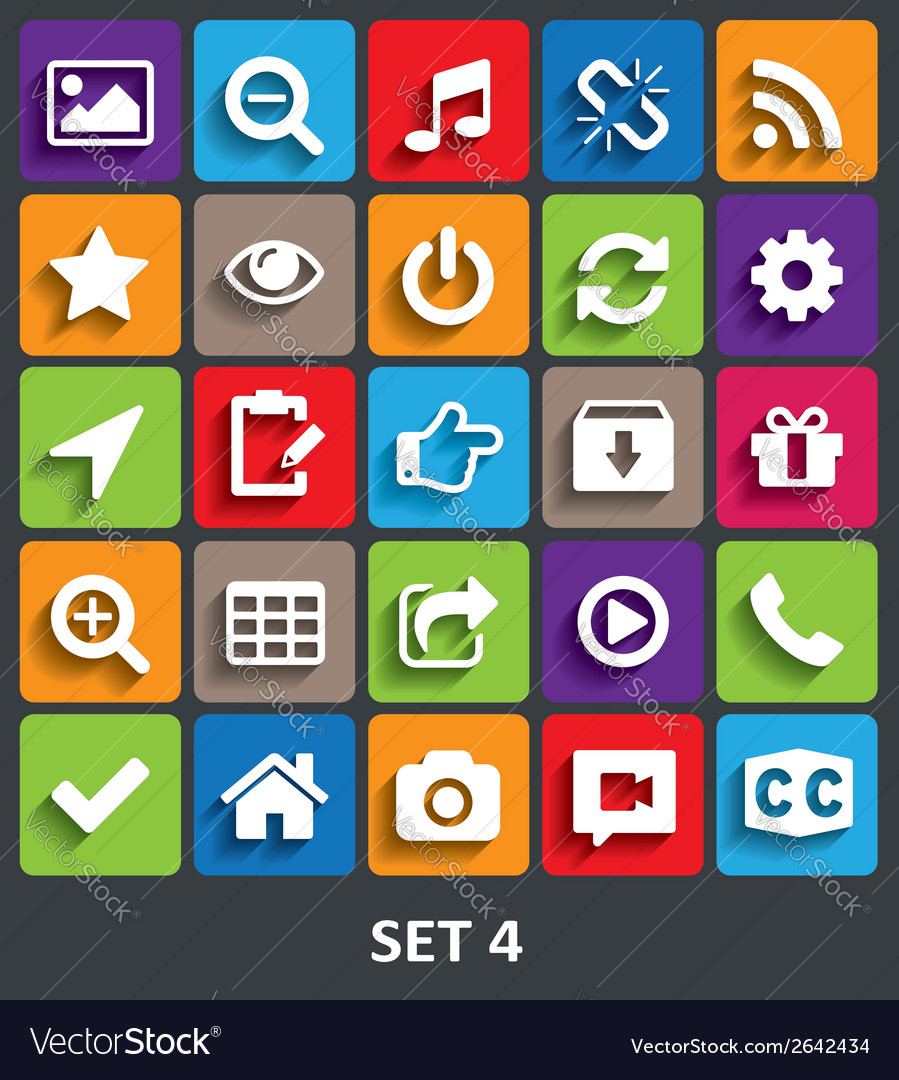 Trendy icons with shadow set 4 vector | Price: 1 Credit (USD $1)