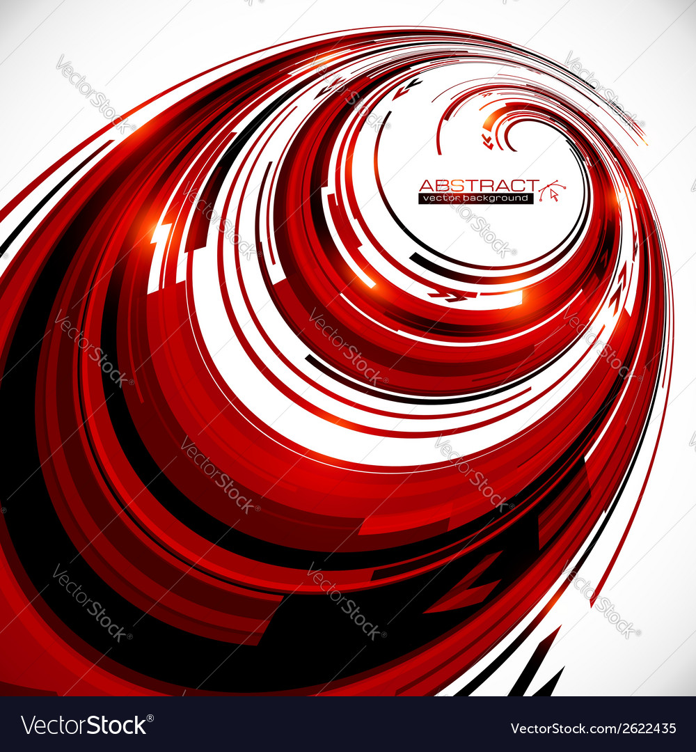 Abstract red and black spiral circles background vector | Price: 1 Credit (USD $1)