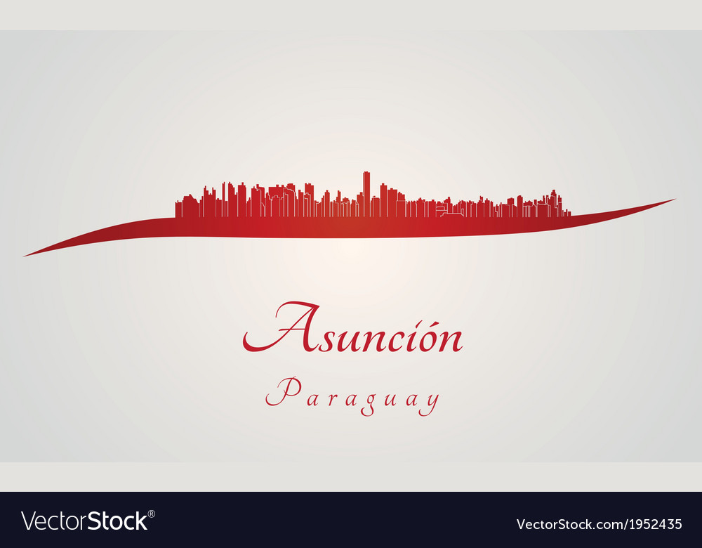 Asuncion skyline in red vector | Price: 1 Credit (USD $1)