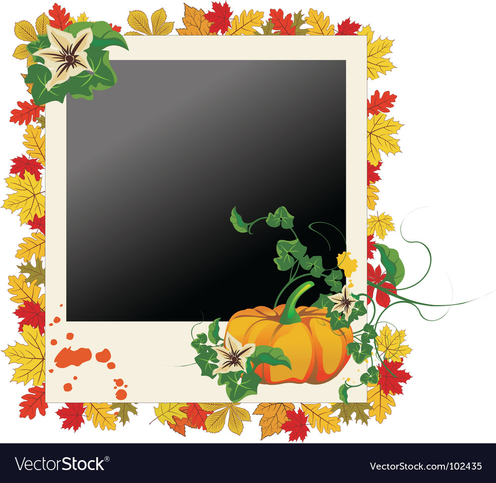 Autumn grunge photo frame vector | Price: 1 Credit (USD $1)