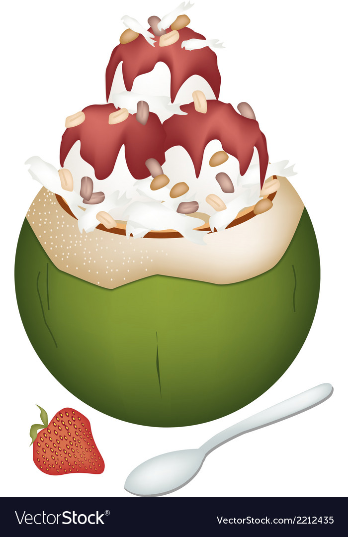 Coconut ice cream with nuts and strawberry vector | Price: 1 Credit (USD $1)