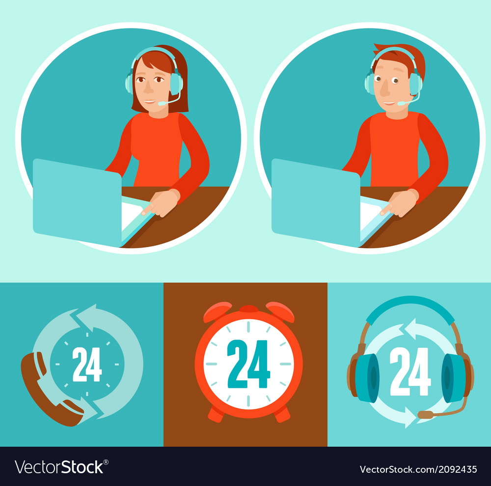 Customer support operators vector | Price: 1 Credit (USD $1)