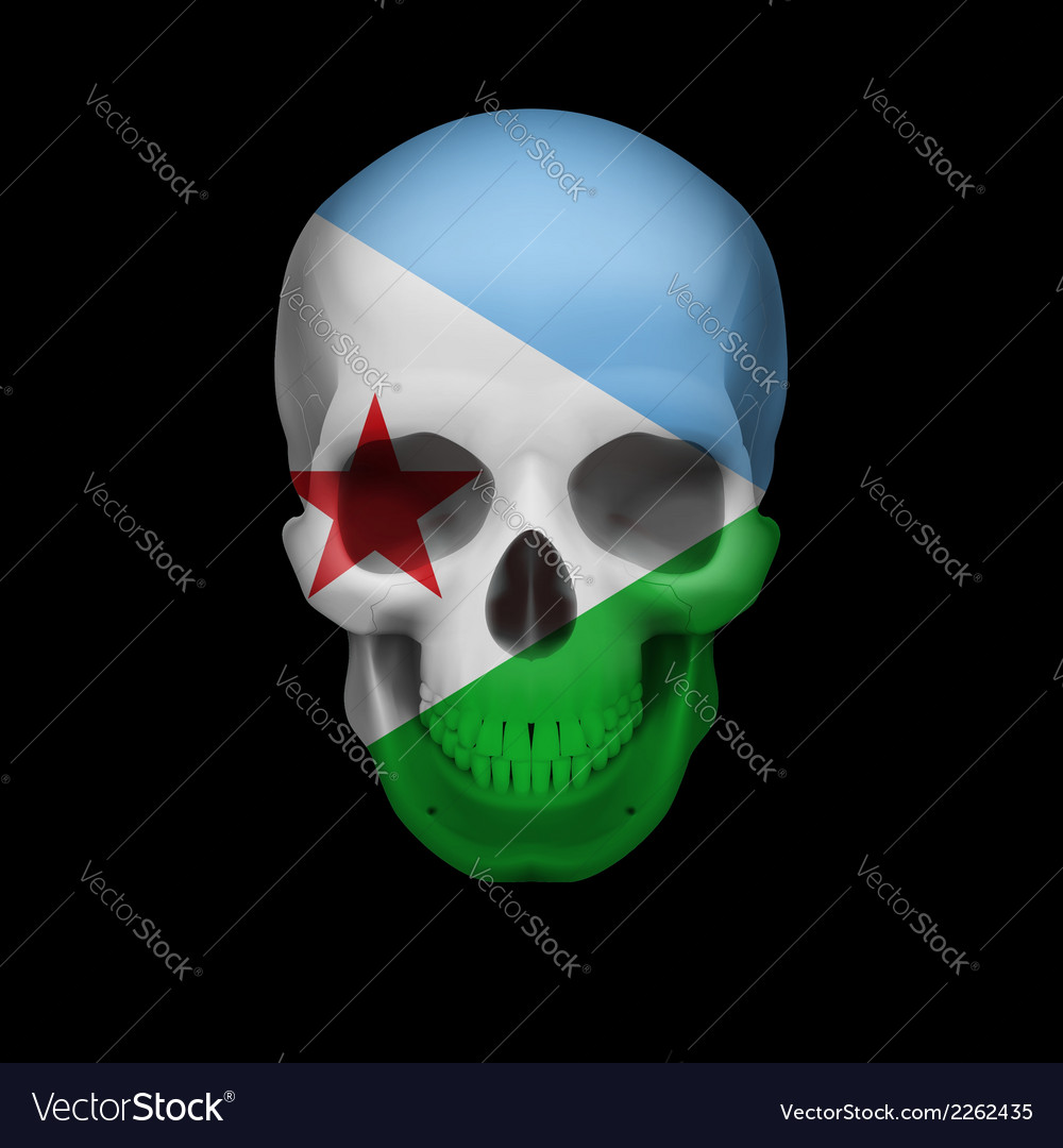 Djiboutian flag skull vector | Price: 1 Credit (USD $1)