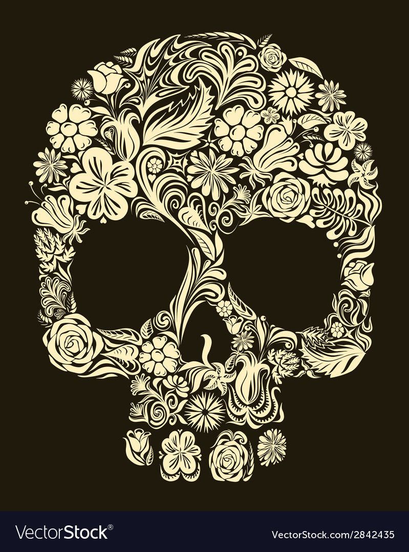 Floral skull vector | Price: 1 Credit (USD $1)