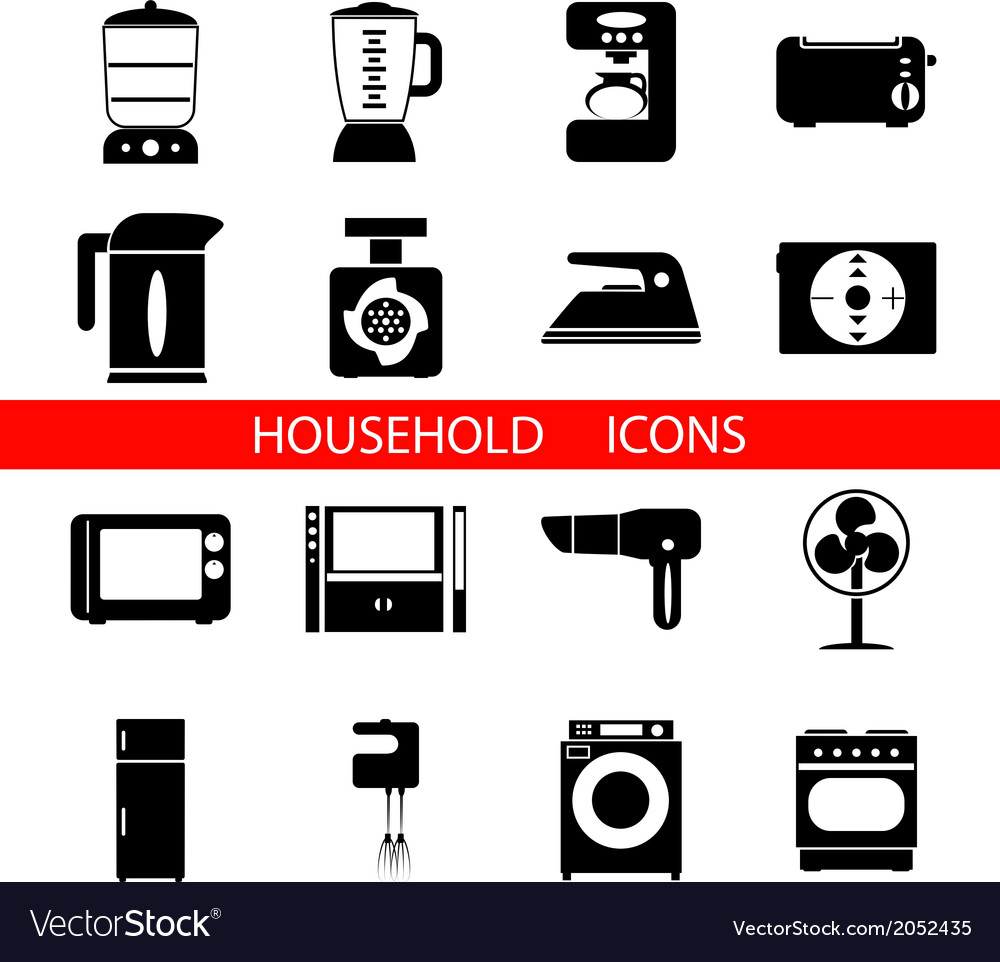 Household icons and symbols isolated silhouette vector | Price: 1 Credit (USD $1)