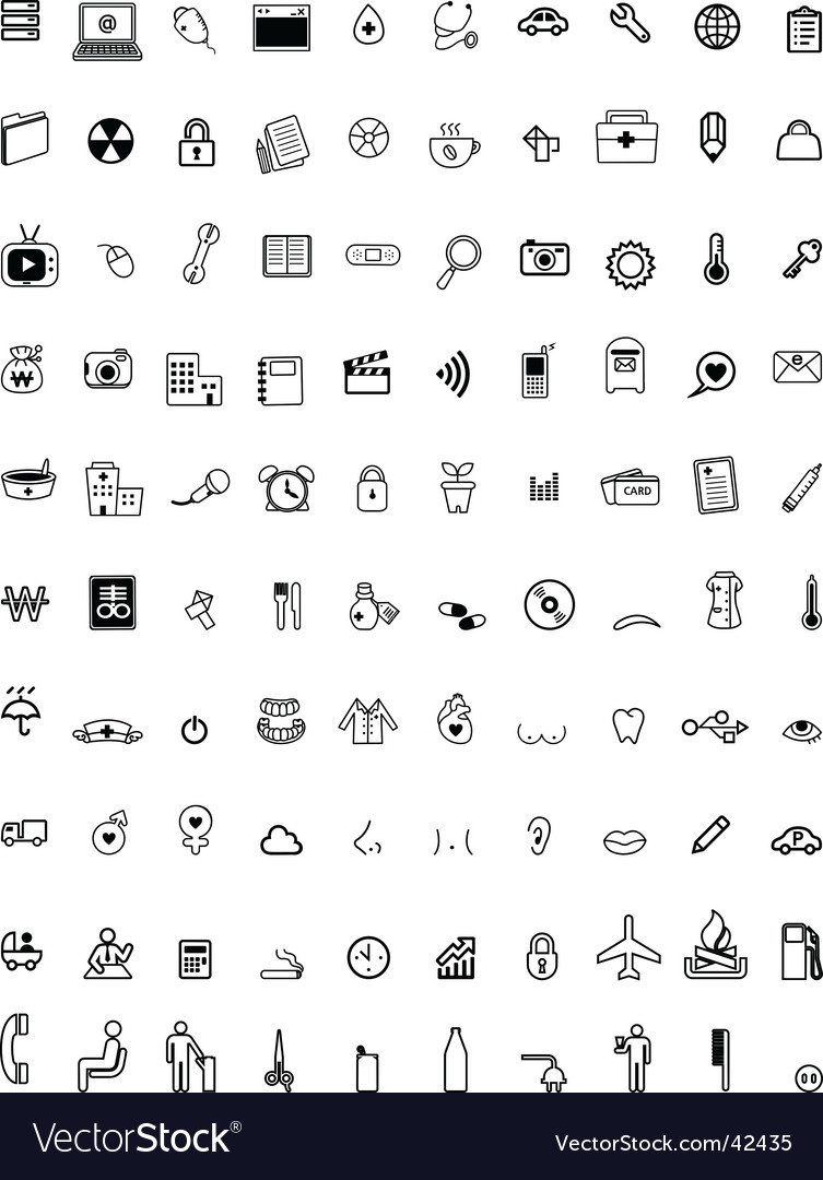 Hundred computer icons vector | Price: 1 Credit (USD $1)