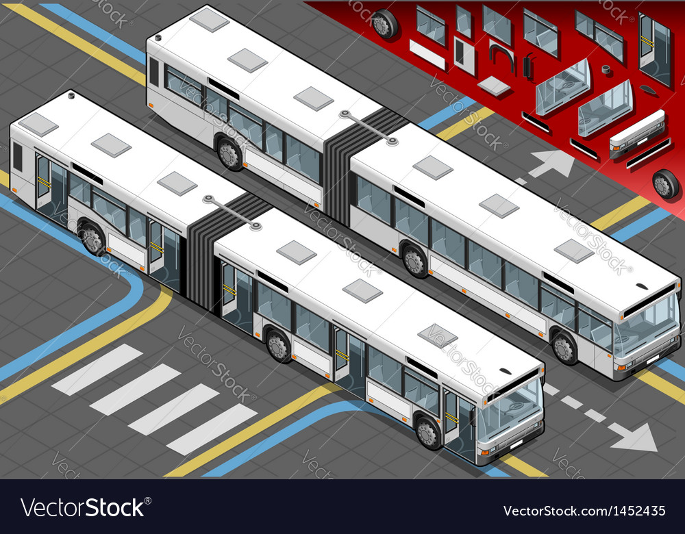 Isometric long bus in front view with open doors vector | Price: 1 Credit (USD $1)