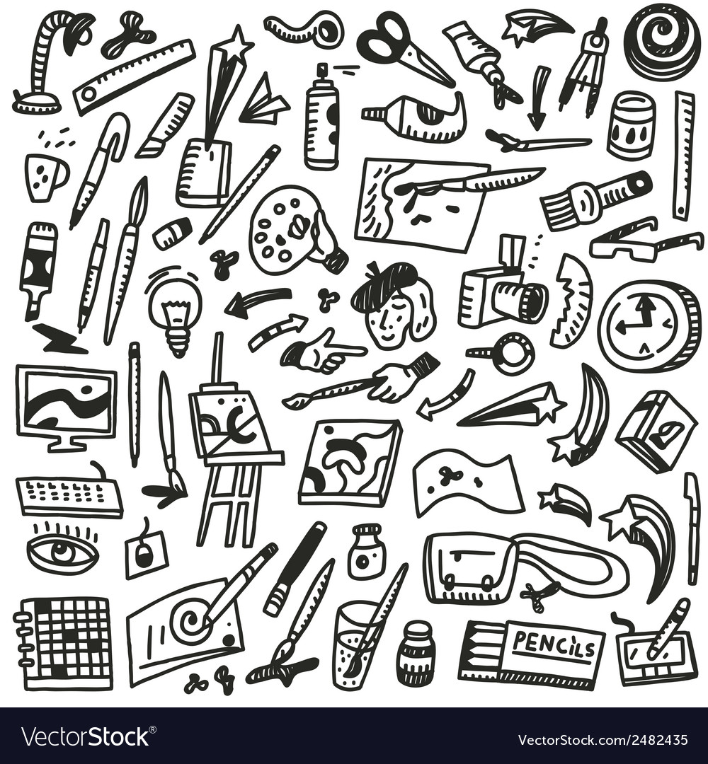 Paint tools - doodles vector | Price: 1 Credit (USD $1)