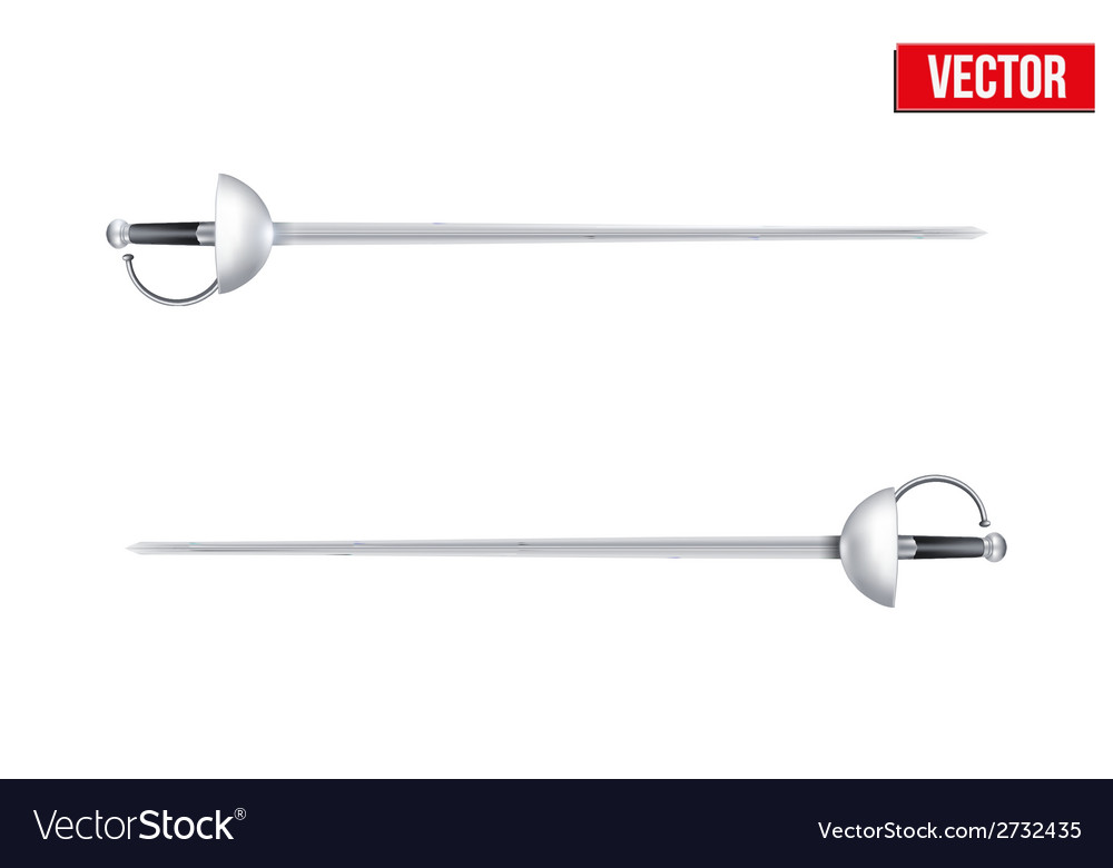 Pair of fencing rapiers realistic vector | Price: 1 Credit (USD $1)
