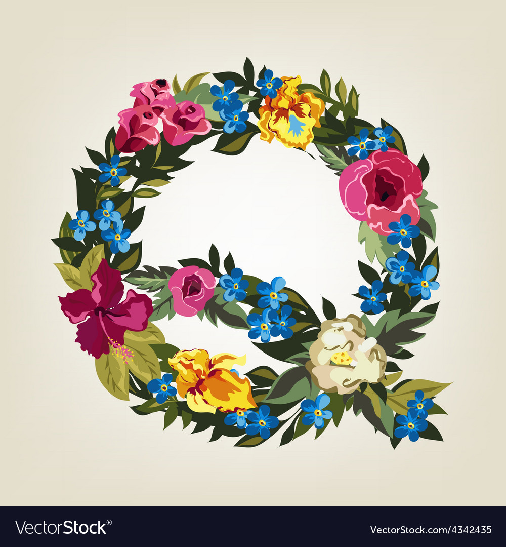 Q letter flower capital alphabet colorful font vector | Price: 1 Credit (USD $1)