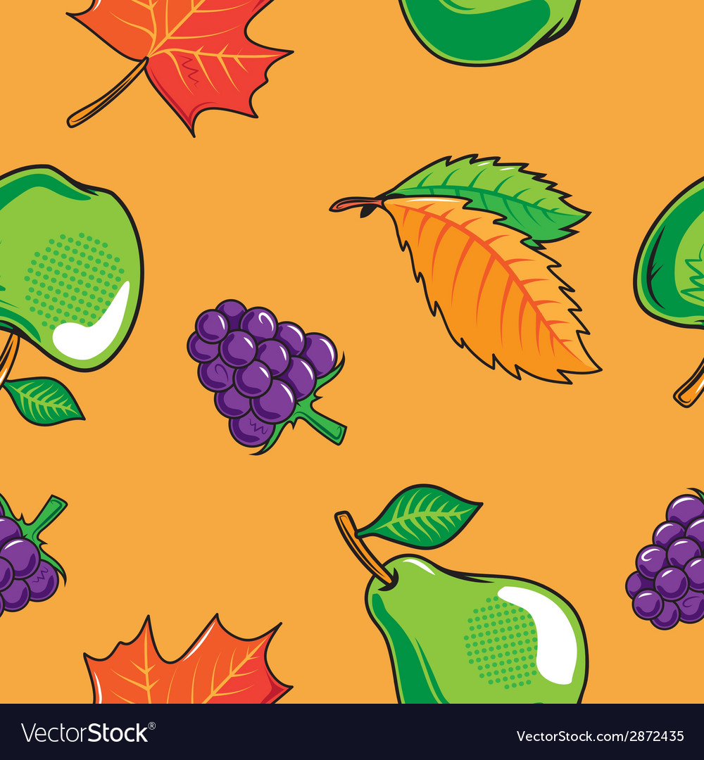 Seamless pattern with autumn fruits and leaves vector | Price: 1 Credit (USD $1)