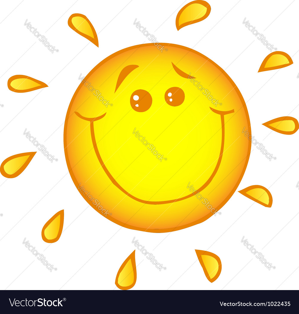 Smiling sun cartoon character vector | Price: 1 Credit (USD $1)