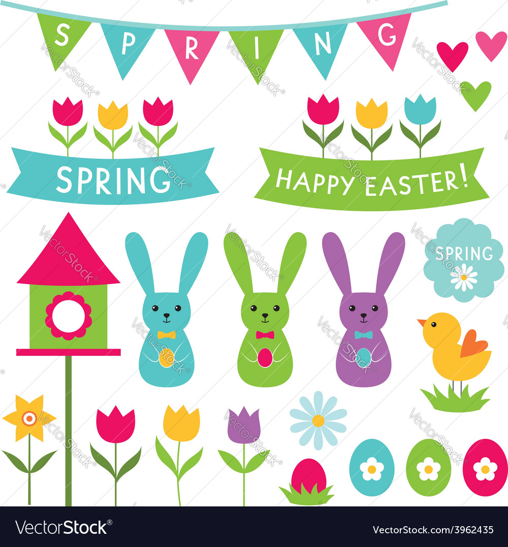 Spring and easter design elements set vector | Price: 1 Credit (USD $1)