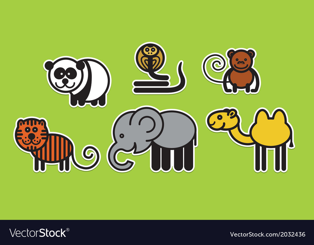 Asian animals vector | Price: 1 Credit (USD $1)