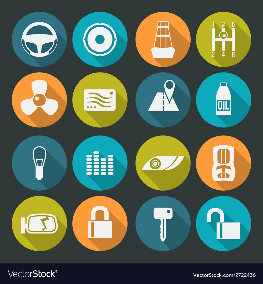 Auto accessories icons set colors plate vector | Price: 1 Credit (USD $1)