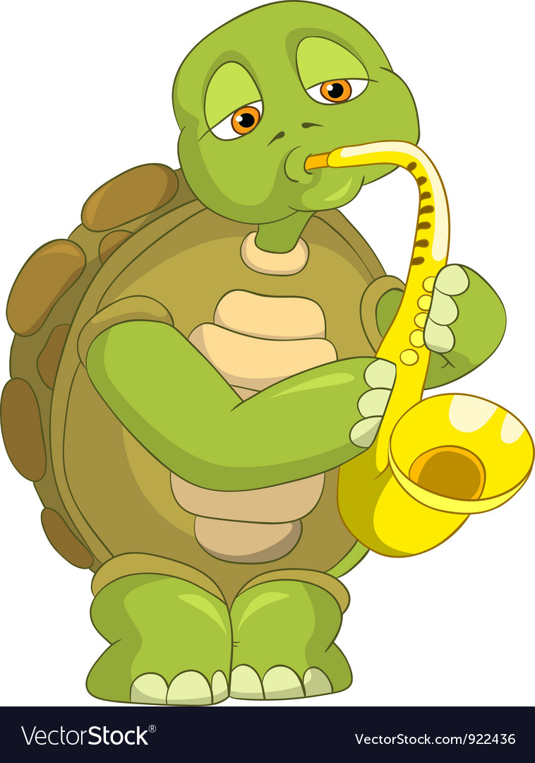 Funny turtle saxophonist vector | Price: 1 Credit (USD $1)